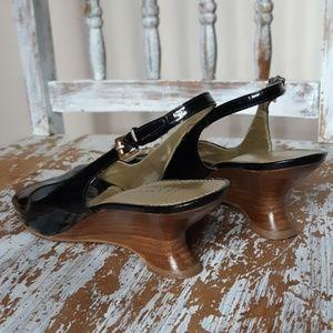 FRANCO SARTO glossy black sandal heels size 9.5